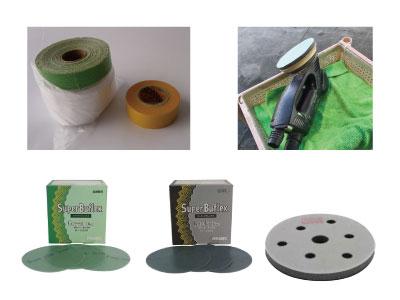 マスキングテープ、ポリッシャー、耐水ペーパー